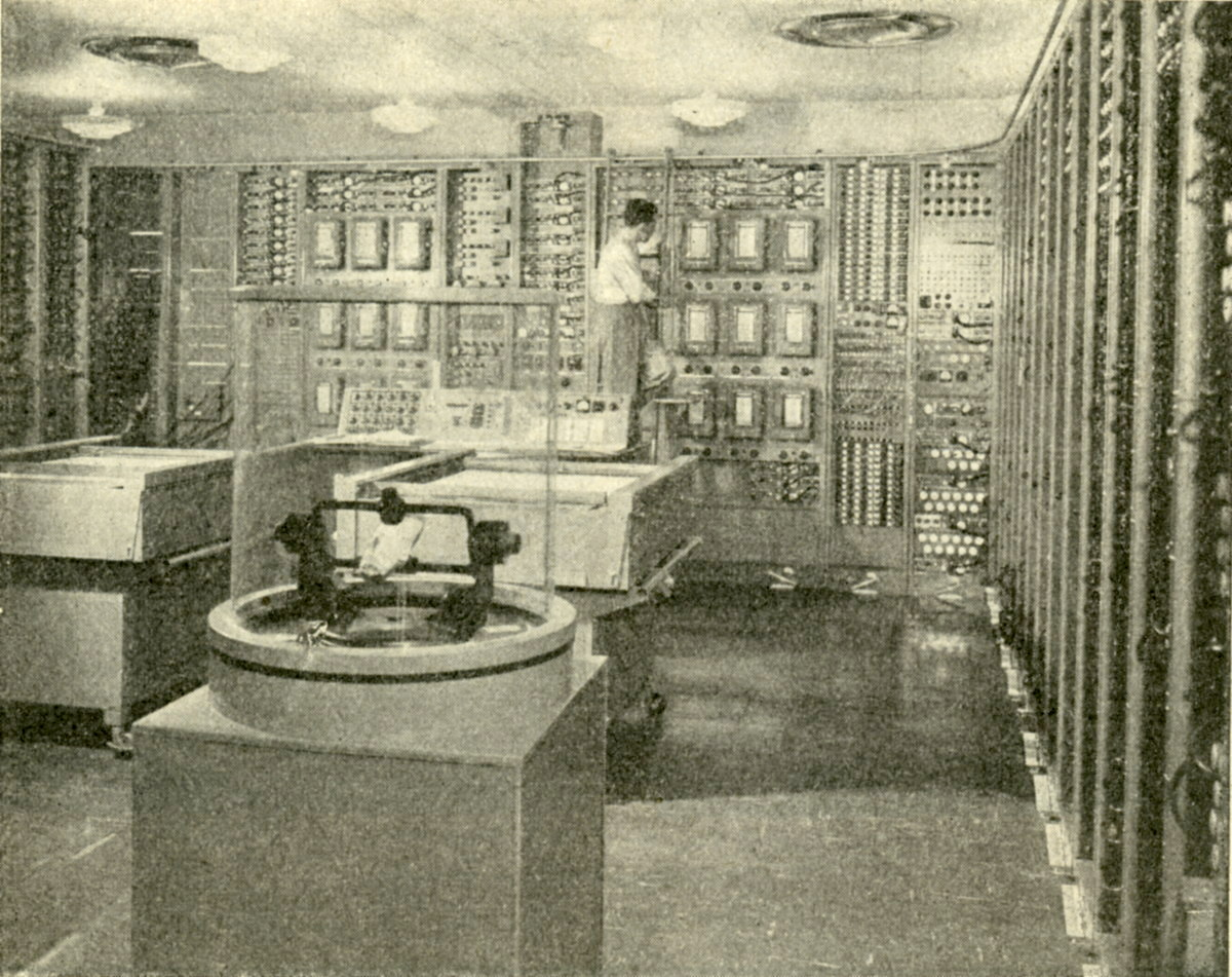 Overview of 'Project Typhoon' analog computer, one of the large US military projects around 1950.