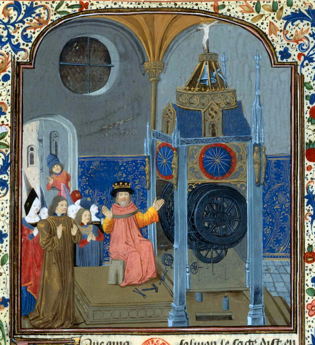 King Solomon repairing a mechanical clock, from Horloge de Sapience, 1461-65, Bibliotheque Nationale, MS fr. 455, fol 9.