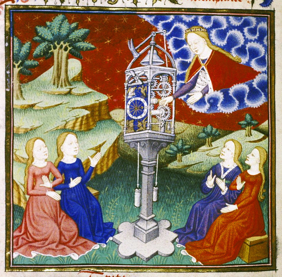 "Temperance adjusting a mechanical clock in copy of Christine de Pisan's ""l'Epitre d'Othea""."