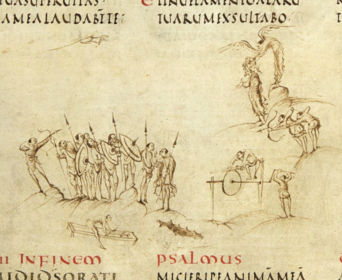 fol. 35v of the Utrecht Psalter (Rheims, early 9th century), showing the virtuous with superior technology.