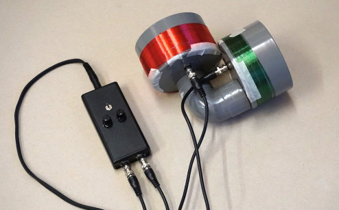 the long-range induction coil microphones I built to capture urban electromagnetic signals.