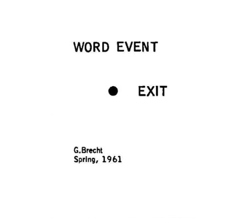 "Score of ""Exit"", word event by George Brecht."