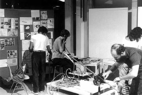 "Some of action during ""The World in 24 Hours"" (1982), a 24-hour telecommunications project organised by Robert Adrian."